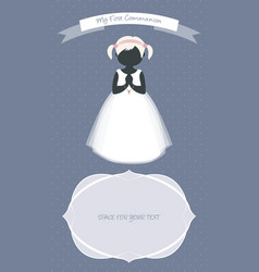 My first communion celebration reminder cute girl vector