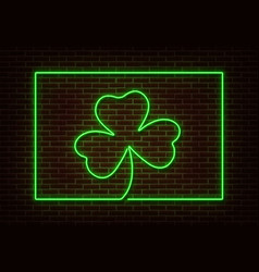 neon green shamrock with frame sign isolate vector image