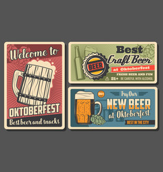 Oktoberfest beer and snack posters vector