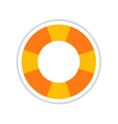 Paper sticker on white background round lifebuoy vector