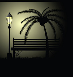 park bench empty with palm vector image
