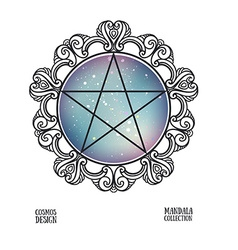 pentagram with space background and mandala frame vector image