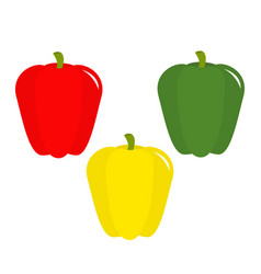 pepper icon yellow red green color vegetable vector image