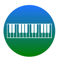 piano keyboard sign white icon in bluish vector image