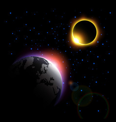 planet and solar eclipse vector image