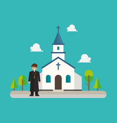 Priest standing in front church in flat style vector