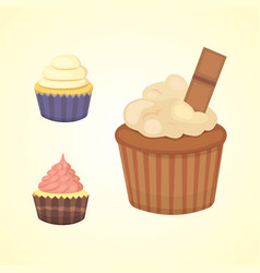 Printset of cute cupcakes and muffins vector