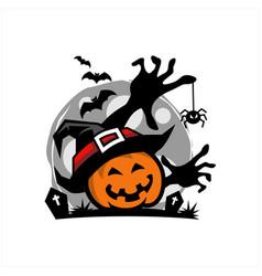 pumpkin halloween moon theme logo vector image