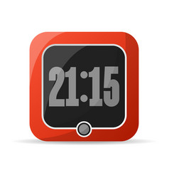 Red digital alarm clock icon vector