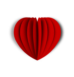 red heart in paper art design red paper heart vector image