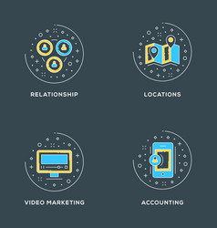 relationship locations video marketing accounting vector image