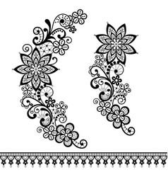 retro floral lace half wreath pattern vector image