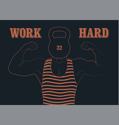 Retro gym vintage poster with strong man vector