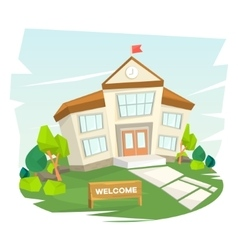 School building Welcome to school vector