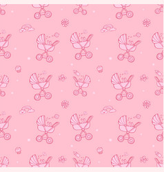 seamless monochrome pink pattern with cute baby vector image