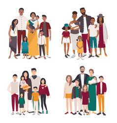 Set of large family portrait different vector
