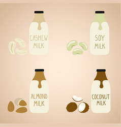 Set of vegan milk in a cartoon bottles soy vector