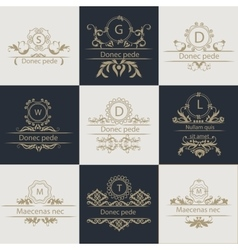 Set patterns leaflets ornamental logo vector image