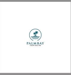 simple palm island logo template design vector image