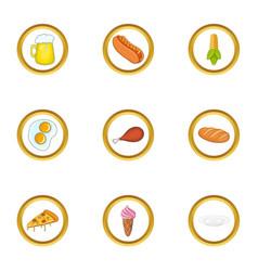 Snacks icons set cartoon style vector