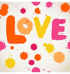 Spray paint watercolor seamless pattern with Love vector
