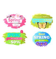 spring big sale discounts 50 posters set labels vector image