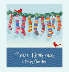 string colorful patterned christmas stockings vector image