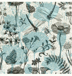 Summer seamless pattern botanical vector