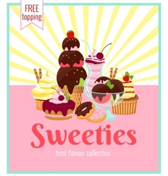 Sweeties retro poster design vector image