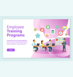 Training programs workers and laptop web vector