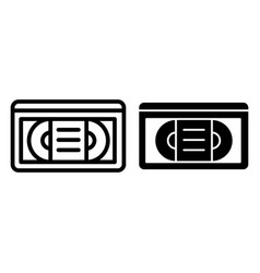 Videotape line and glyph icon vhs tape vector