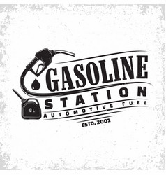 Vintage filling station emblem design vector