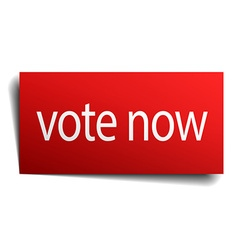 Vote now red paper sign on white background vector
