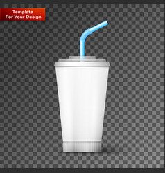 white paper cup template for soda vector image