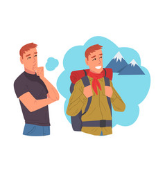young man dreaming about hiking human thoughts vector image