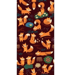 Cartoon seamless pattern with cute foxes Forest vector image vector image