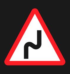 dangerous double bend sign flat icon vector image