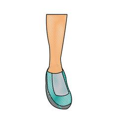 Drawing feet sneaker sport shoe design icon vector