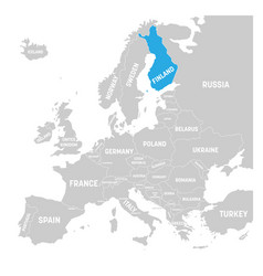 finland marked by blue in grey political map of vector image vector image