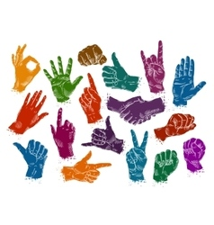 hands icons set isolated on white background vector image vector image
