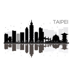 taipei city skyline black and white silhouette vector image