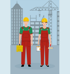 construction people characters couple of workers vector image