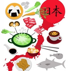 Japanese food collection vector image vector image