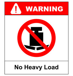 no heavy load do not place heavy objects on vector image vector image
