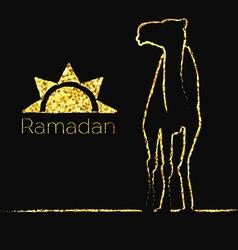Ramadan gold greeting with camel vector image