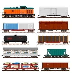 set of Train Cargo Wagons Tanks Cars vector image vector image
