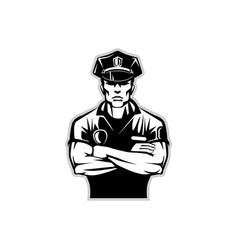 silhouette of a policeman in uniform wearing a vector image vector image