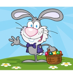 Waving Gray Bunny With Easter Eggs vector image vector image