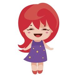 kawaii cheerful magic-red baby-grl vector image vector image