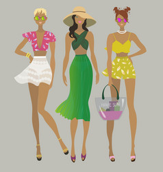Stylish summer girlsfashion models vector